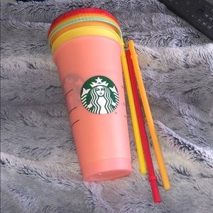 3 color changing Starbucks cup